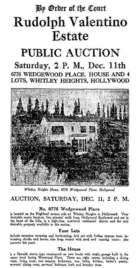 rudolph_valentino_estate_auction whitley Heights