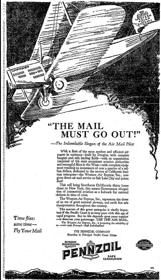 Pennzoil Western Air Express Air Mail 1926
