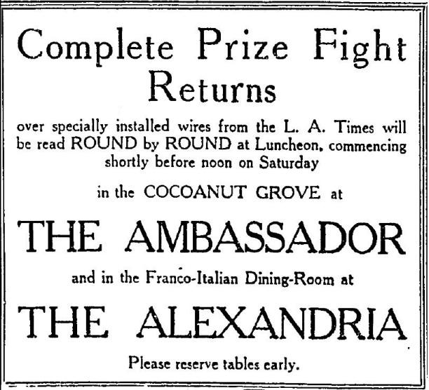 Ambassador_Hotel_Cocoanut_Grove+Alexandria_Hotel+Carpentier+Dempsey_1921