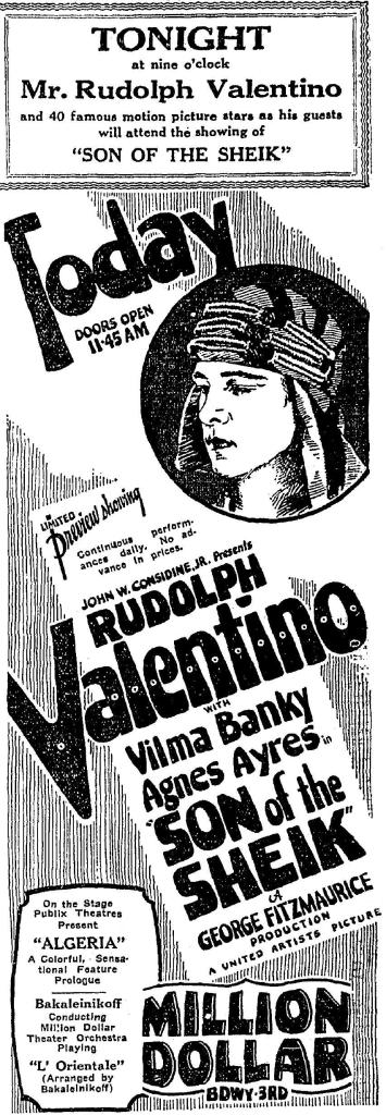 Rudolph_valentino son_of-the_sheik Los_angeles Million_dollar_theater 1926