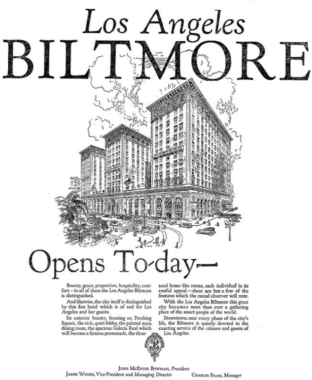 los angeles biltmore opening day ad