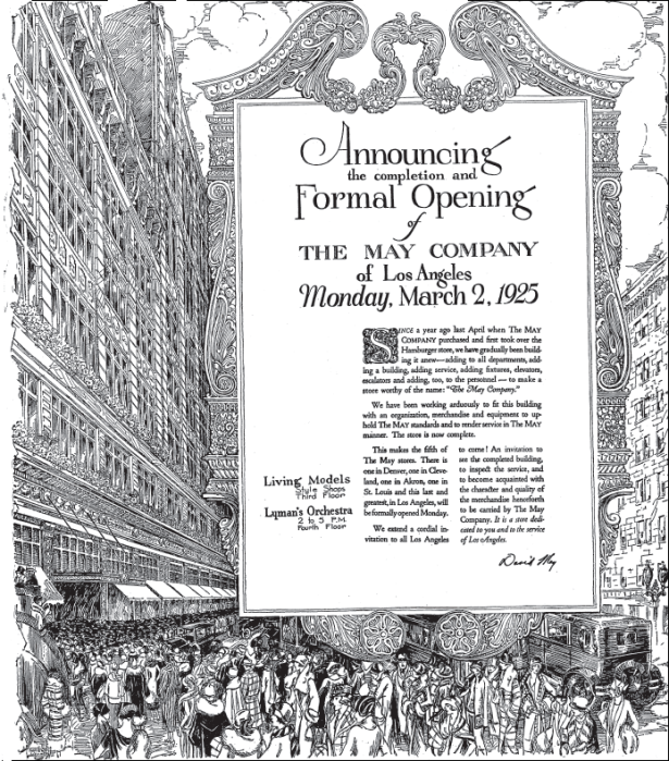 Los Angeles may company grand opening 1925