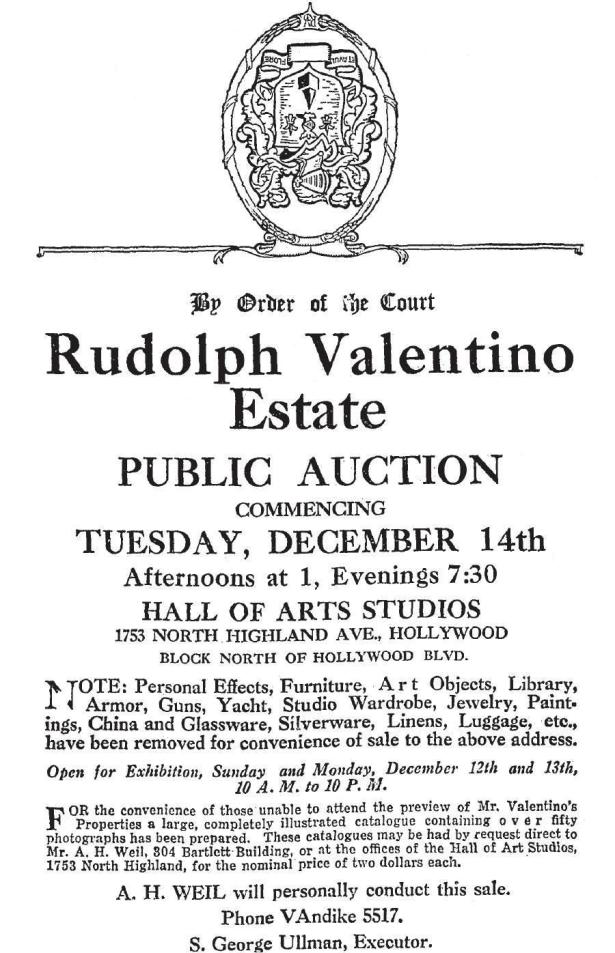 rudolph_valentino_estate_auction Hollywood