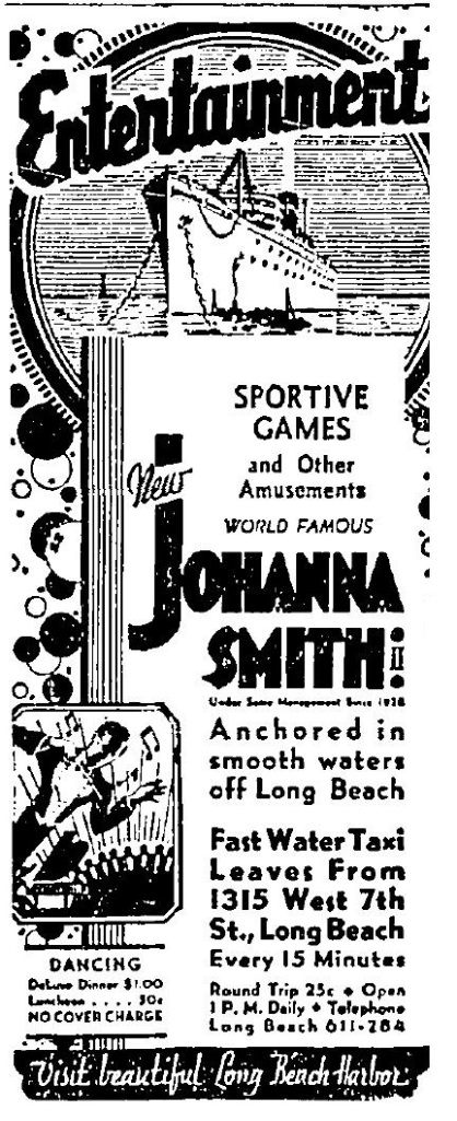 Johanna Smith II gambling ship 1932