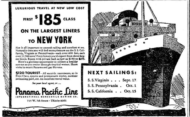 9-10-34-panama pacific ad S.S. Virginia, California etc