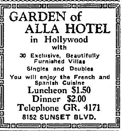 Garden of Allah Hotel 10-12-1928