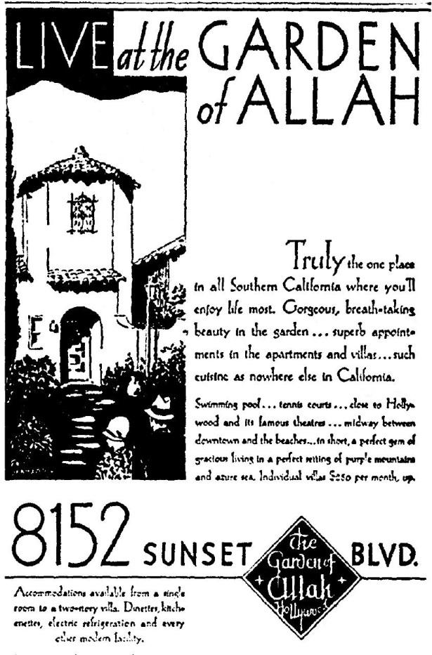 garden of allah hotel 7-10-1930