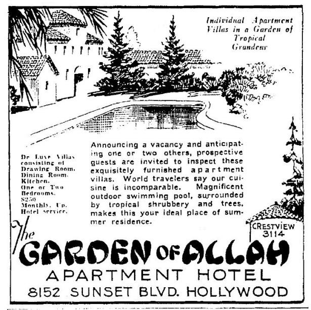 garden of allah hotel 3-18-1931