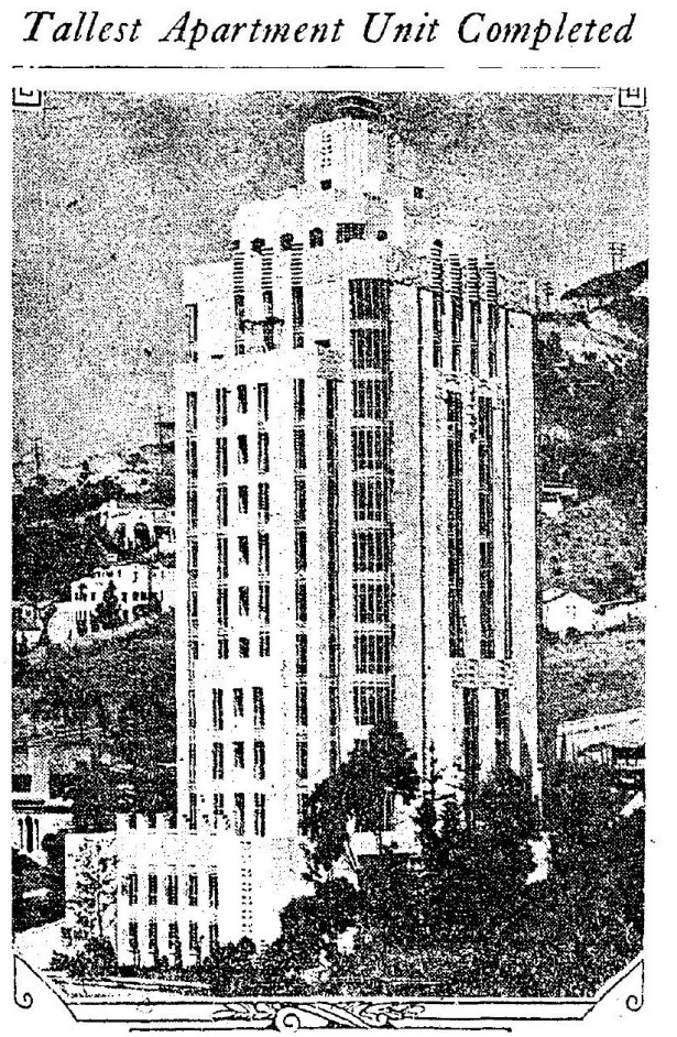 1931-8-23-garage view of Susnet Towers, 8358 Sunset Strip