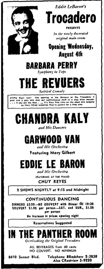1943 8 2 eddie lebaron's Trocadero