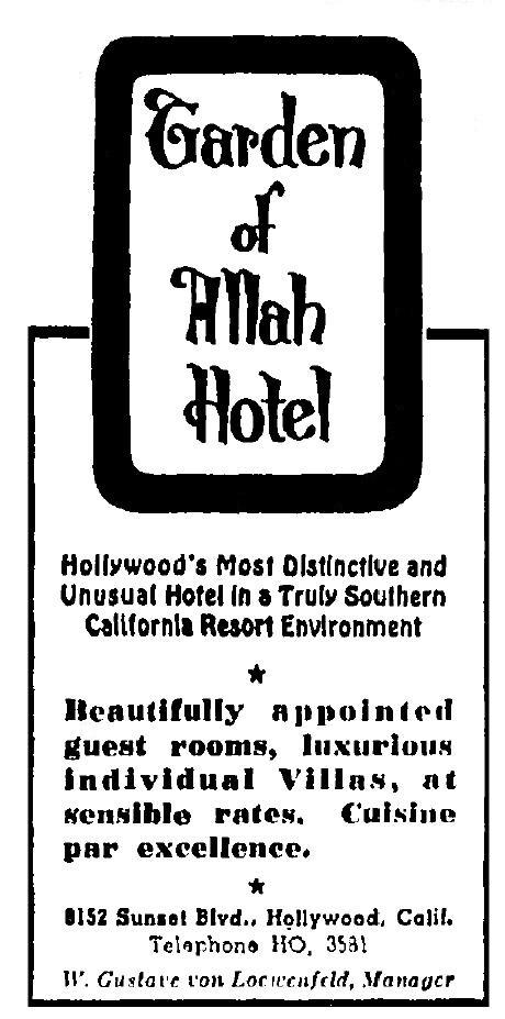 garden of allah hotel 1-20-1949