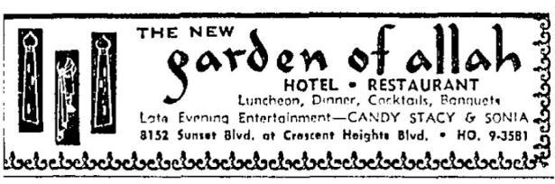 garden of allah hotel ad 2-2-1956