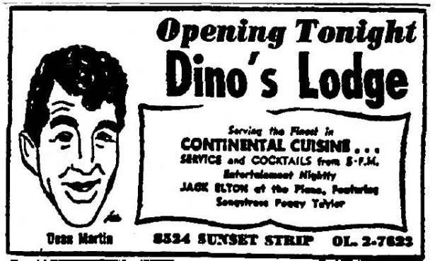 1958 3 21 dino's lodge 8524 sunset opning tonight