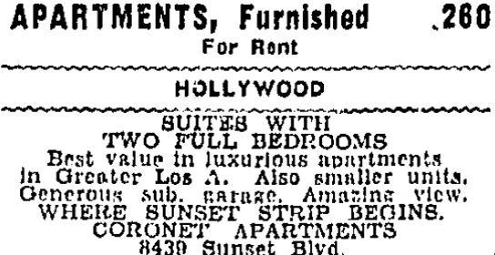 Coronet Apartments, 8-29-1939