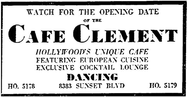 8383 sunset strip as CLub CLemente 11-14-35