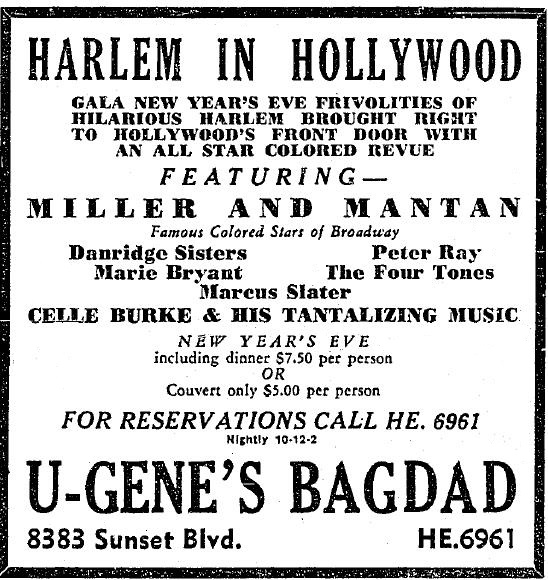 8383 sunset strip as U-Gene's Bagdad 12-31-1937