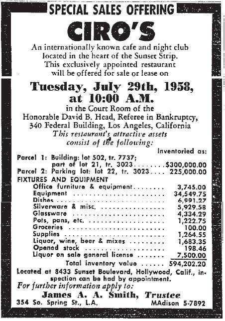 ciro's auction 7-29-1958