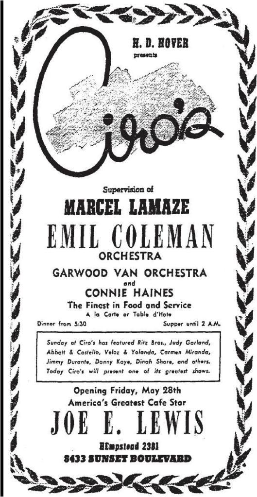 ciro's marcel lamaze h.d. hover 5-23-1943
