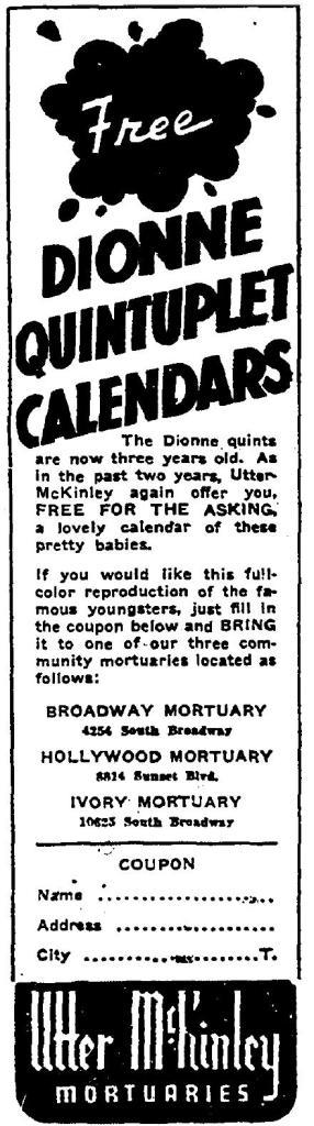 dionne quints calendar Utter McKinley 1937