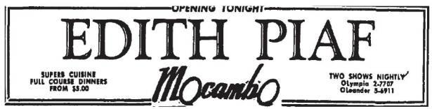 edith piaf mocambo 7-19-1957