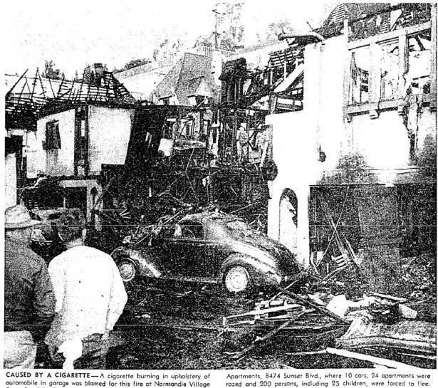 fire Normandie Village 8474 sunset 1-5-1955