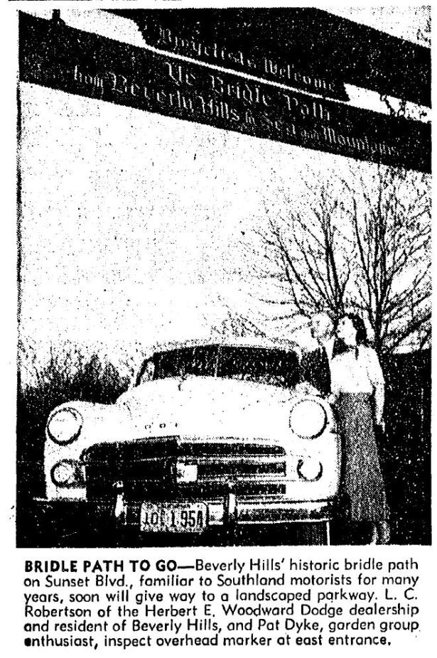 Announcing that the Beverly Hills bridle path was slated to ride into the sunset. LA Times, 2-19-1950.