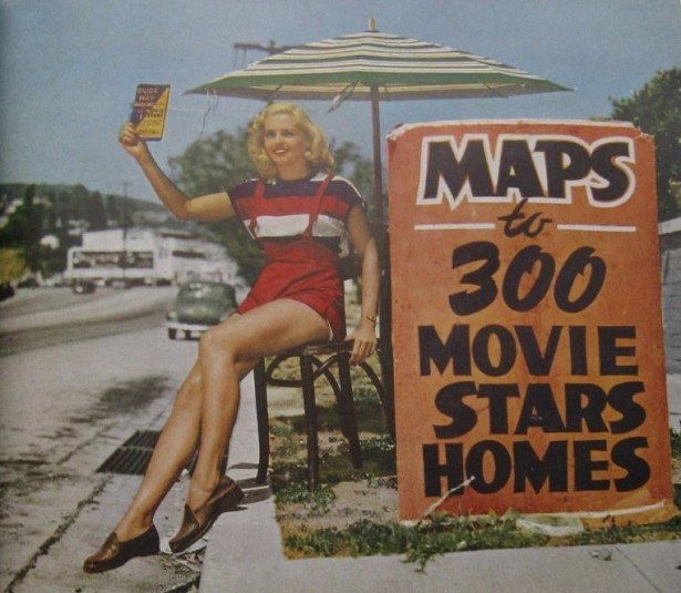 Tourists who came to the Sunset Strip hoping to see the stars at play could also tour adjacent Beverly Hills, where the stars lived, with the aid of a handy map or guide. Just west of the Strip. From Holiday magazine, 1949.