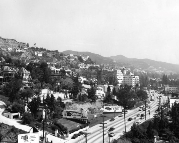 The Sunset Strip near Sweetzer c.1951. In the lower left is the driveway leading to Castle Kalmia, 8311 Sunset, seen perched on the hill to the right.