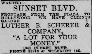 "1913 ad for L.B. ""Tutor"" Scherer's real estate business. ""A lot for your money"""