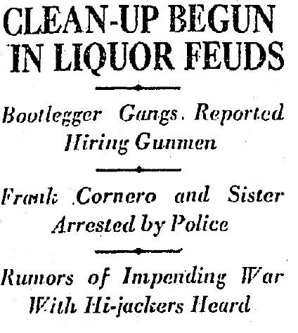 Gangster round up in the wake of the Hesketh shooting netted Frank Cornero and sister Katherine. 4-13-1926