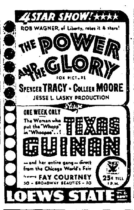 texas guinan loew's state theater 1933