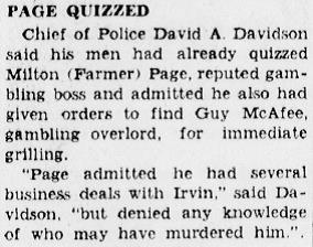 Page questioned in the Duckie Irvin case. Arcadia Tribune 12-29-1938