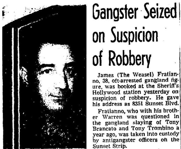 Jimmy the Weasil after his arrest at 8351 Sunset. Los Angeles Times 8-29-1952.