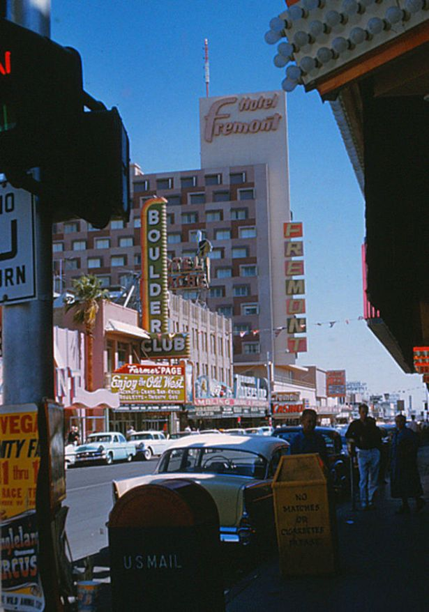 Farmer Page and the Boulder Club on Fremont Street, 1957