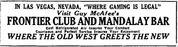 Guy McAfee's Frontier Club and Mandalay Bar, in Las Vegas Nevada