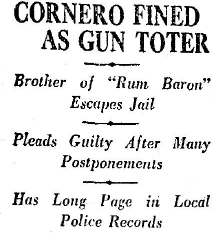 "Frank fined as a ""gun toter"" 9-22-1926"