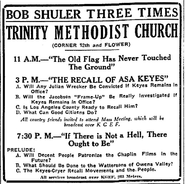 "Rev. ""Fighting Bob"" Shuler speaking out on the Jacobson frame-up. 8-20-1927"