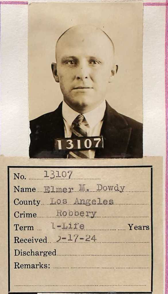 Elmer Dowdy, The Pajama Kid, as prisoner 13107. 1924.