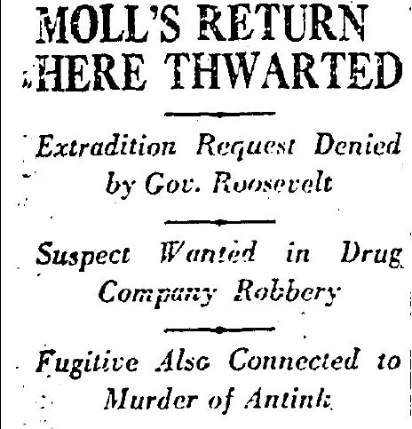 Moll's extradition thwarted, 1930