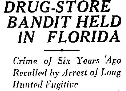 Moll arrested in Florida 2-6-1929