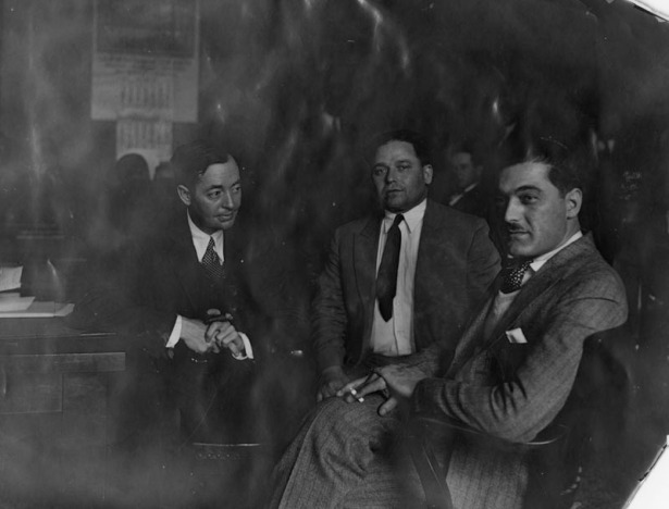 Ardito and Pupillo with their attorney, 1929. LAPL