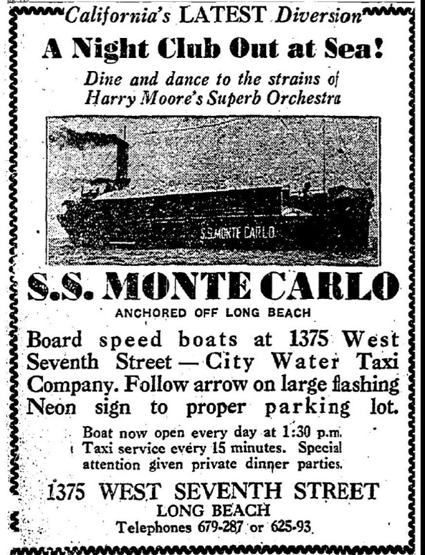 July 1932 ad for the S.S. Monte Cgambling shiparlo.