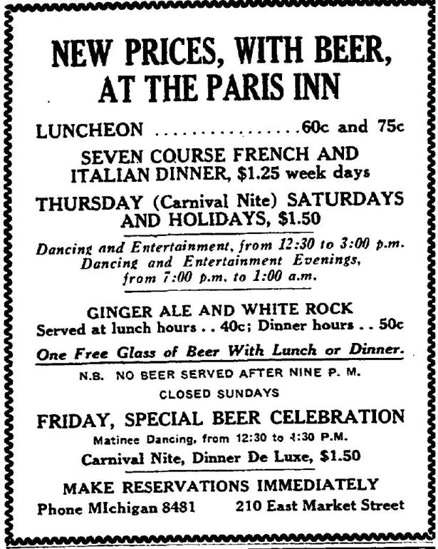 Paris Inn, Los Angeles 1930s