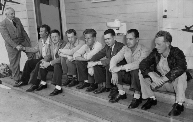 Virgil Banning (seated, far left) and 9 others were the first vets chosen to become Rodger Young Village residents.