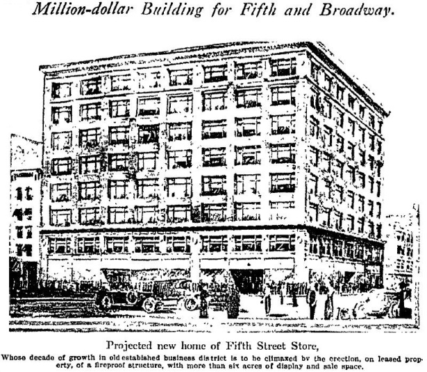 Plans for the Fifth Street Store's new 8-story building in 1917 never materialized. LAT 3-30-1917.