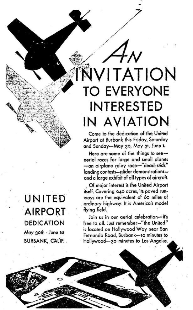 United Airport later Burbank dedicated 1930