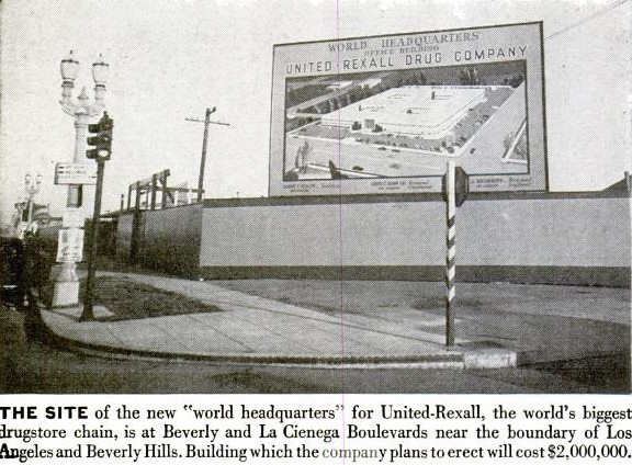 Site of the new United-Rexall headquarters at Beverly and La Cienega. From Life 6-10-1946