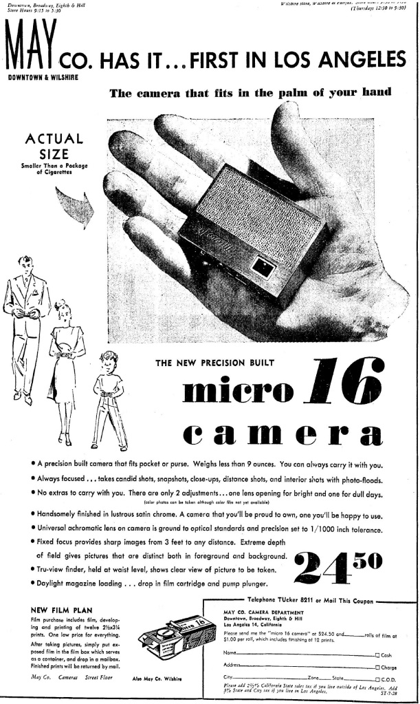 The May Company was the first to retail the Whittaker Micro 16, in the summer of 1946. 7-28-1946.