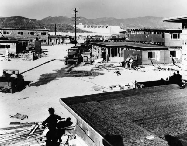Reconstructing surplus war housing at Basilone Homes, 1947. LAPL.