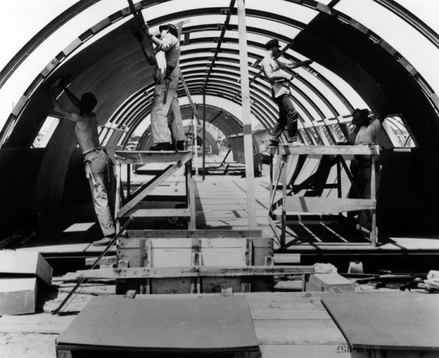 Rehabilitating one of the 750 Quonset huts at Rodger Young Village, 1946. LAPL